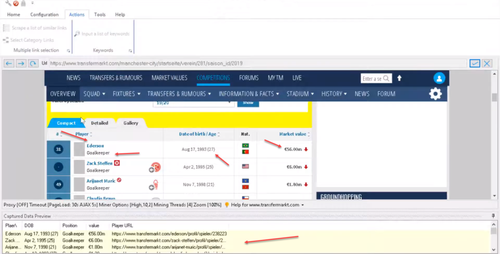 scraping player details from transfermarkt