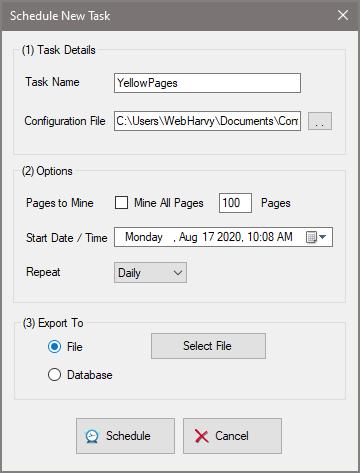 WebHarvy Scheduler