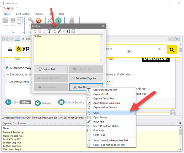WebHarvy Tour - Selecting Data to Scrape - Text, Images, HTML, URLs