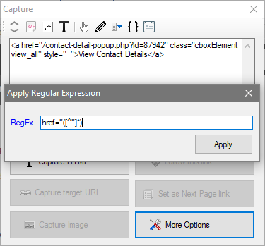 WebHarvy - Apply Regular Expression